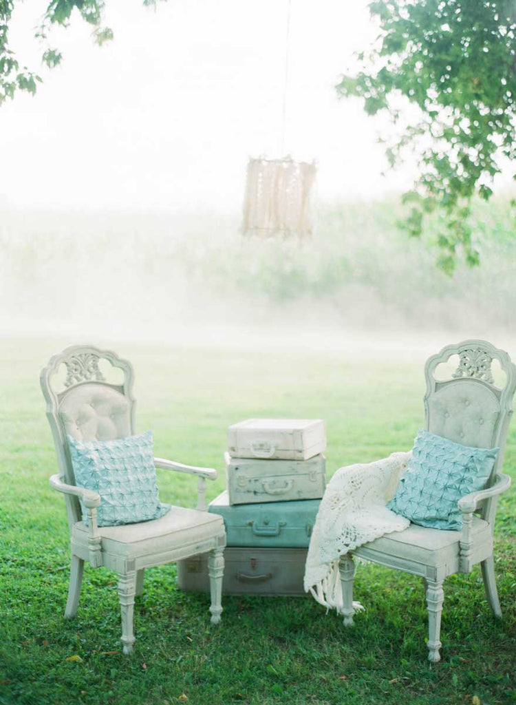 Gorgeous teal and gray furniture and decor | A Country Chic Wedding With Stunning Vintage Details