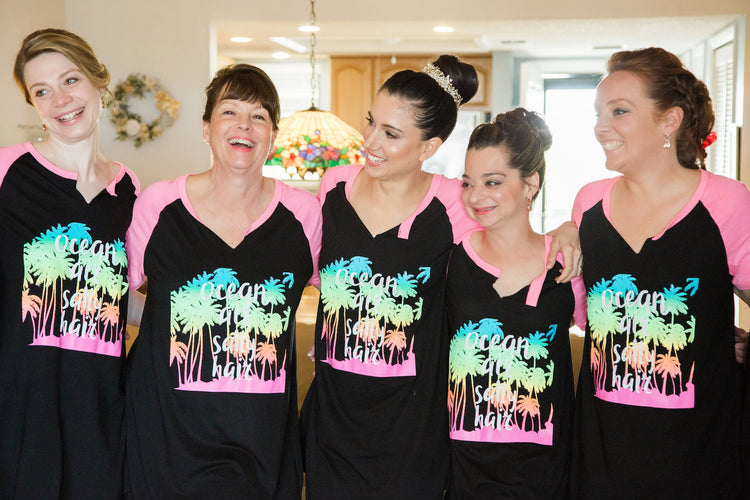 Alexis and bridal party in T-Shirts | Featured on Destination Wedding Details | Real Wedding blog