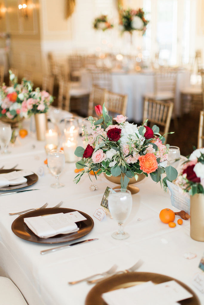 Reception Table Decor | Alexis and Michaels Wedding | Featured on Destination Wedding Details | Real Wedding blog