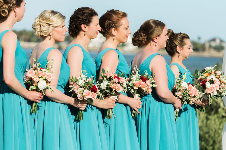 Bridesmaids wearing Kennedy Blue | Alexis and Michaels Wedding | Featured on Destination Wedding Details | Real Wedding blog