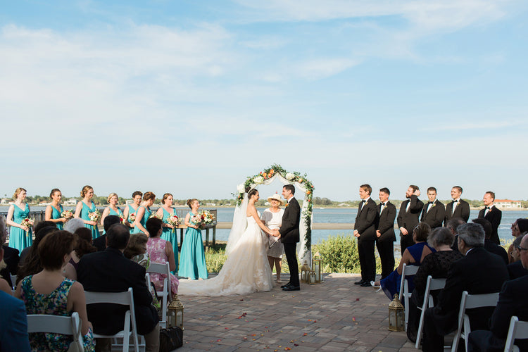 Bride and Groom saying I Do at Ceremony alter | Alexis and Michaels Wedding | Featured on Destination Wedding Details | Real Wedding blog