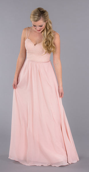 Layla is a gorgeous chiffon bridesmaid dress from Kennedy Blue | Kennedy Blue style Layla featured in blush pink