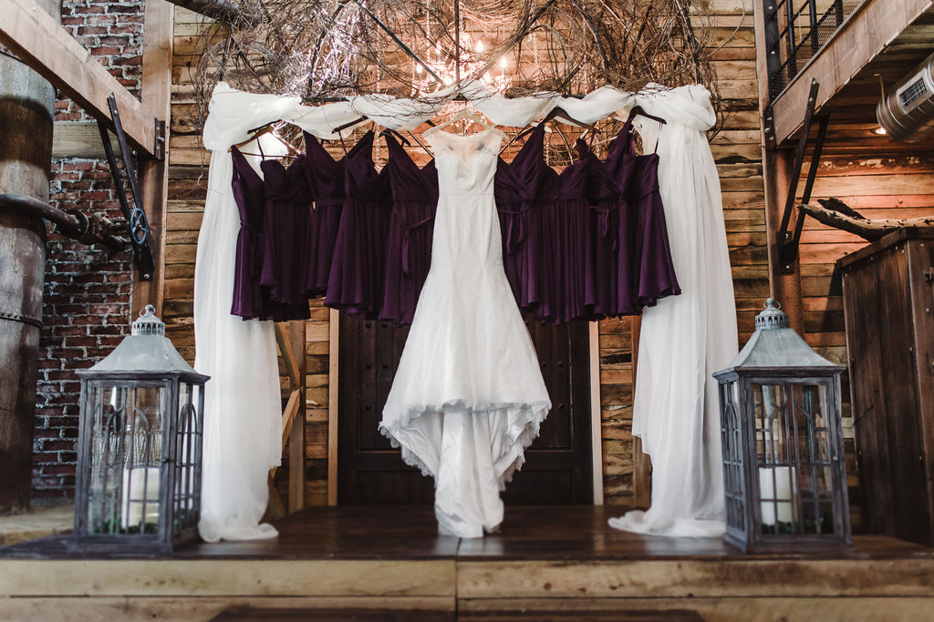 Beautiful display of bridesmaid dresses and wedding gown! | 52 Best Wedding Photo Ideas | Kennedy Blue | Sarah Libby Photography