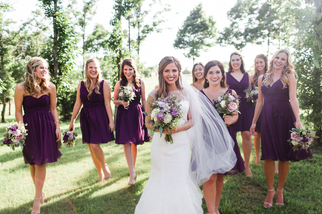 This eggplant bridal party looks gorgeous! | 26 Photos To Take With Your 'Maids | Kennedy Blue | Sarah Libby Photography