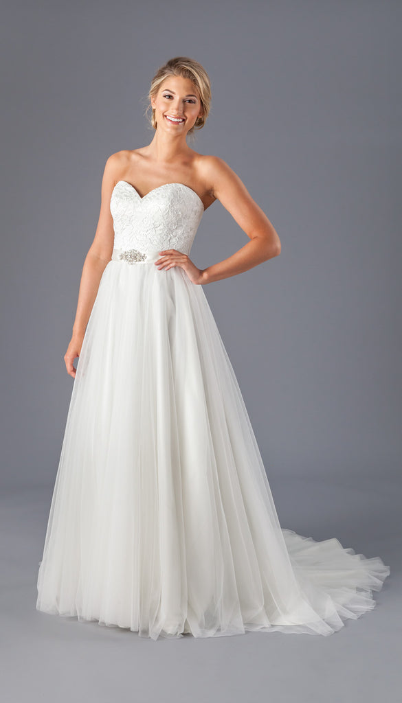 A Lace & Tulle Strapless Wedding Dress from Kennedy Blue | Affordable Bridal Gowns Under $1500 | Kennedy Blue