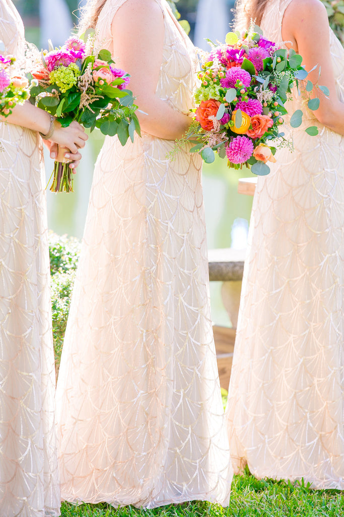 Gold sequin bridesmaid dresses and bright bouquets | Dana Cubbage Photography | Stunning Wedding Photos to Inspire Your Big Day | Kennedy Blue