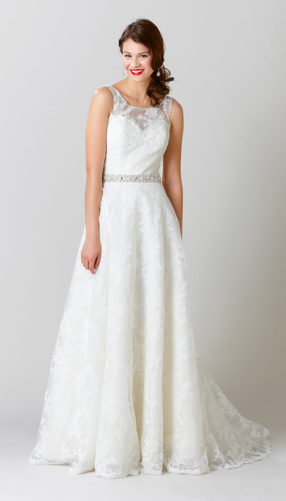 An A-Line Lace Wedding Dress with a High Illusion Neckline | Affordable Bridal Gowns Under $1500 | Kennedy Blue