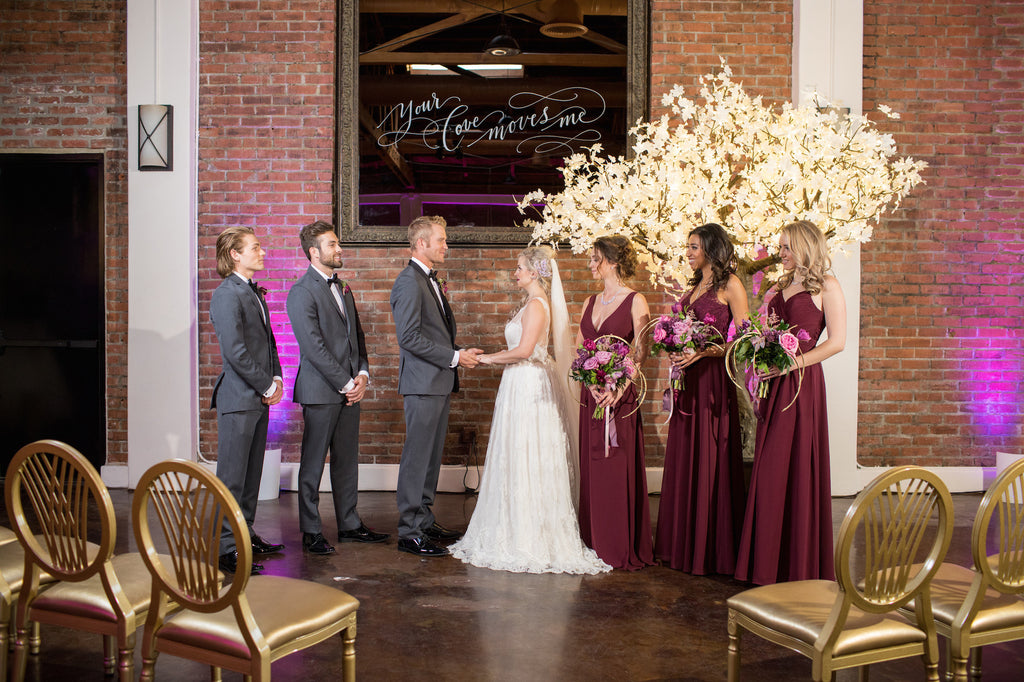 A beautiful bride and groom with their bridal party! | Love In Motion Styled Shoot | Kennedy Blue