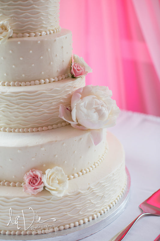 A gorgeous blush wedding cake! | A Simply Chic Wedding Day | Your Something Blue