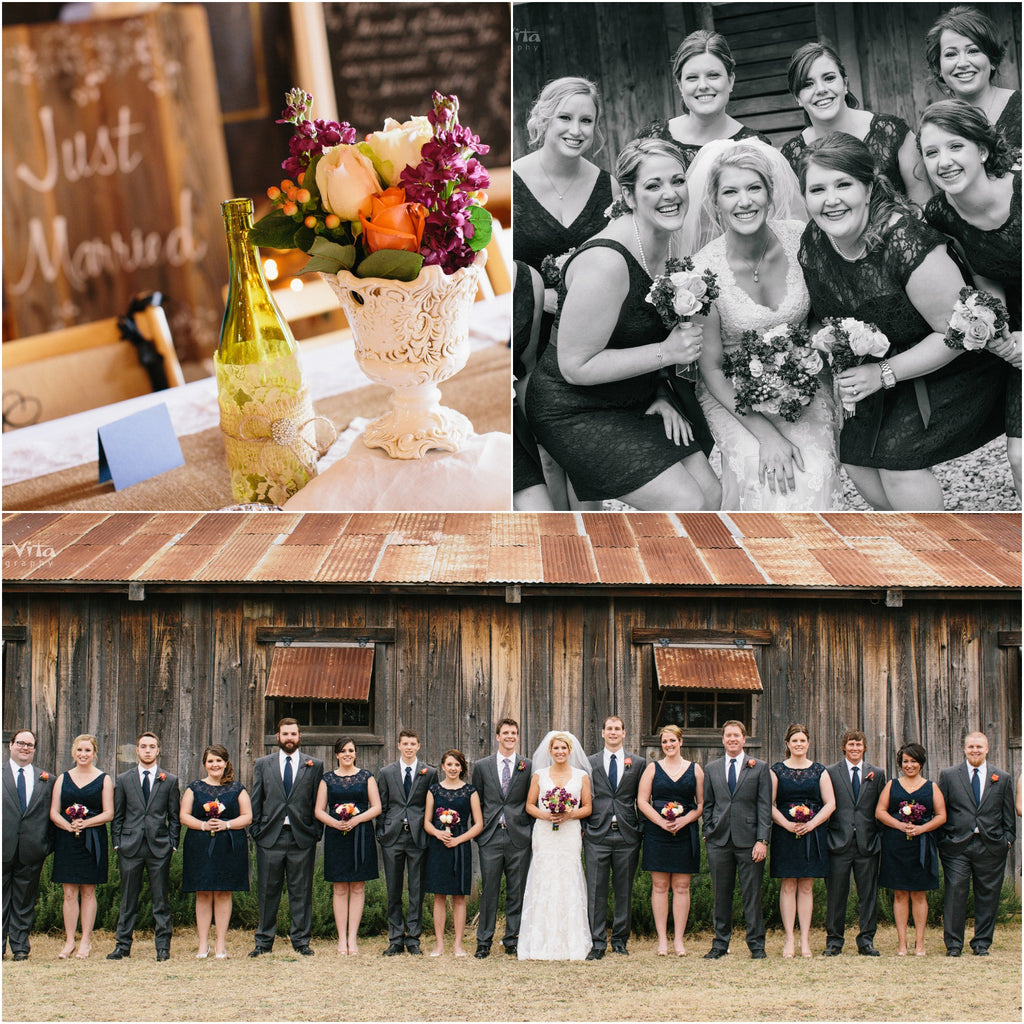Kennedy Blue Lace Bridesmaid Dresses for a Rustic Wedding | West Vita Photography | www.KennedyBlue.com