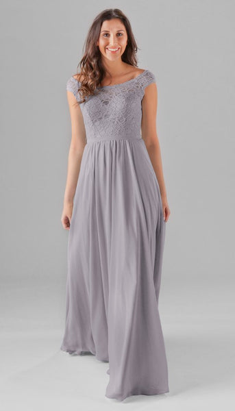 Silver is a beautiful color for this lace and chiffon bridesmaid dress | Your Ultimate Guide to Fall Weddings | Kennedy Blue dress style Lola in silver