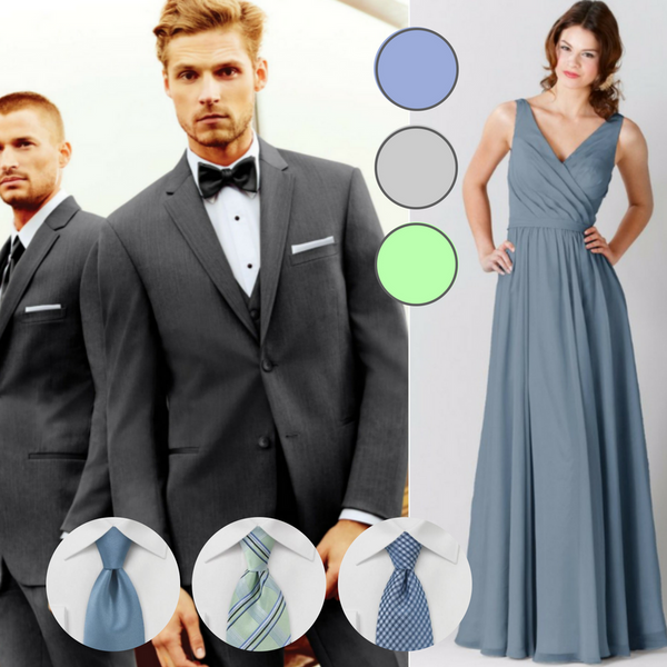Slate blue can be a tough color to match, but it doesn't have to be with our slate blue ties! | Your Guide to Coordinating Groomsmen and Bridesmaids | Jim's Formal Wear suit | Kennedy Blue bridesmaid dress Anna in slate blue