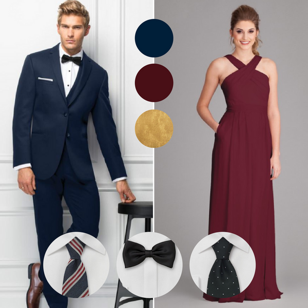 Navy blue suits and bordeaux dresses are the ultimate combination | Your Guide to Coordinating Groomsmen and Bridesmaids | Jim's Formal Wear Suit | Kennedy Blue bridesmaid dress Stella in bordeaux