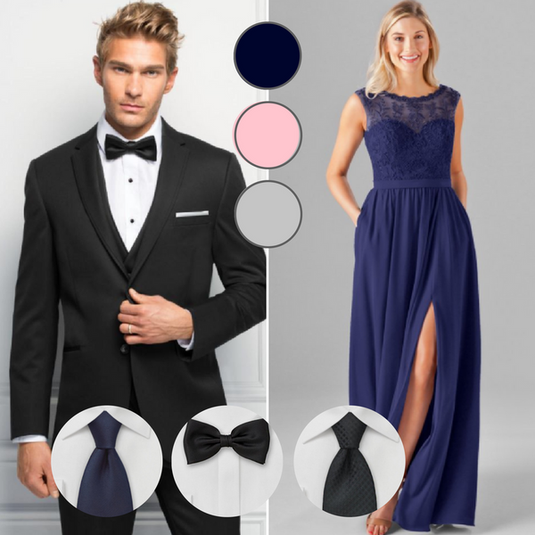 There is nothing more classic than a black suit for your wedding | Your Guide to Coordinating Groomsmen and Bridesmaids | Jim's Formal Wear Suit | Kennedy Blue bridesmaid dress Jade in navy blue