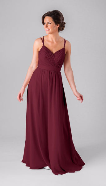 Mackenzie is a gorgeous chiffon bridesmaid gown from Kennedy Blue | Your Ultimate Guide to Fall Weddings | Kennedy Blue style Mackenzie featured in bordeaux