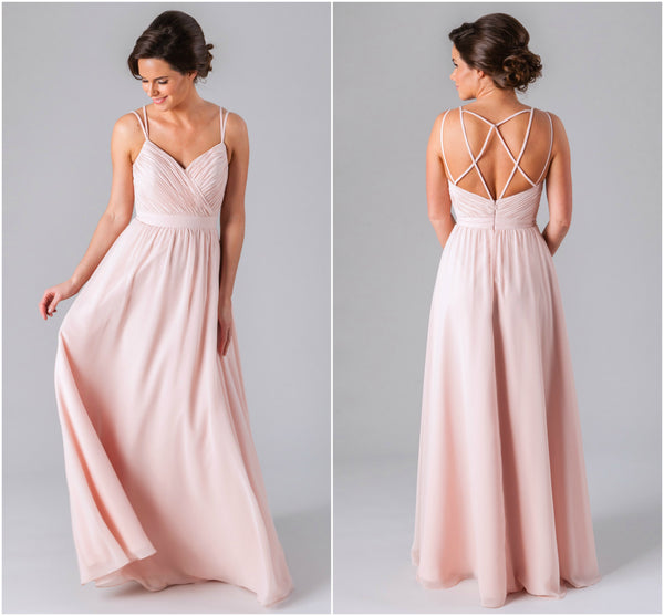Mackenzie is a beautiful chiffon bridesmaid dress featured in blush pink | Kennedy Blue