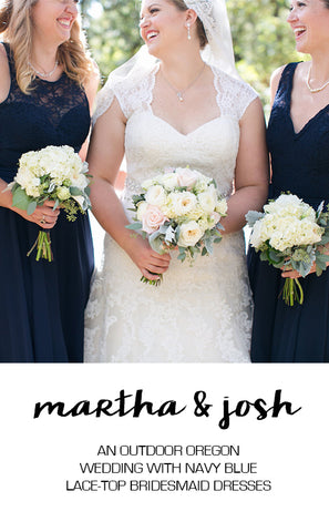 Real Wedding: An Outdoor Wedding With Navy Bridesmaid Dresses