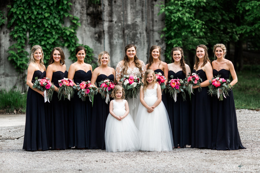 This stunning group of gals looks amazing in their navy blue dresses! | Beautiful Navy Bridal Parties | Kennedy Blue | Nyk & Cali Photography