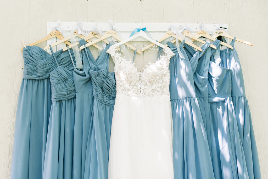Bridal gown and blue bridesmaid dresses | 8 Things You're Doing Wrong While Bridesmaid Dress Shopping