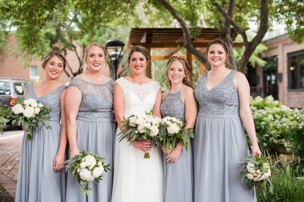 bridal party | Long Grey Bridesmaid Dresses