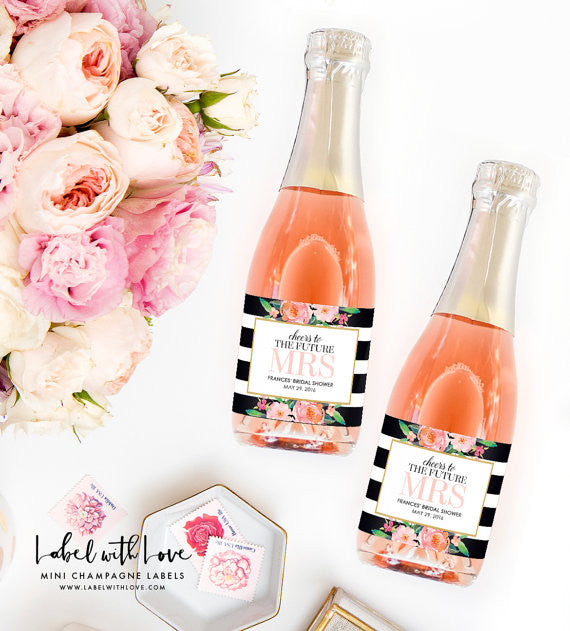 These cute mini champagne labels are such a cute bridal shower party favor! | 52 Awesome Bridal Shower Ideas | Kennedy Blue | LableWithLove