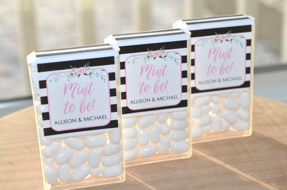 These 'Mint To Be' labels are so cute for a bridal shower party favor! | 52 Awesome Bridal Shower Ideas | Kennedy Blue | SoSweetPartyShop
