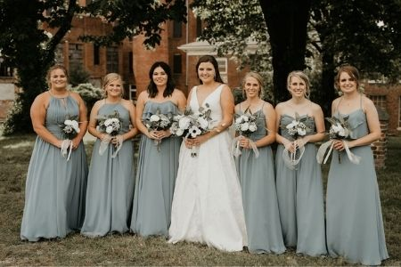 Mixing Styles and Matching Shades Kennedy Blue Bridesmaid Dresses in Dusty Blue