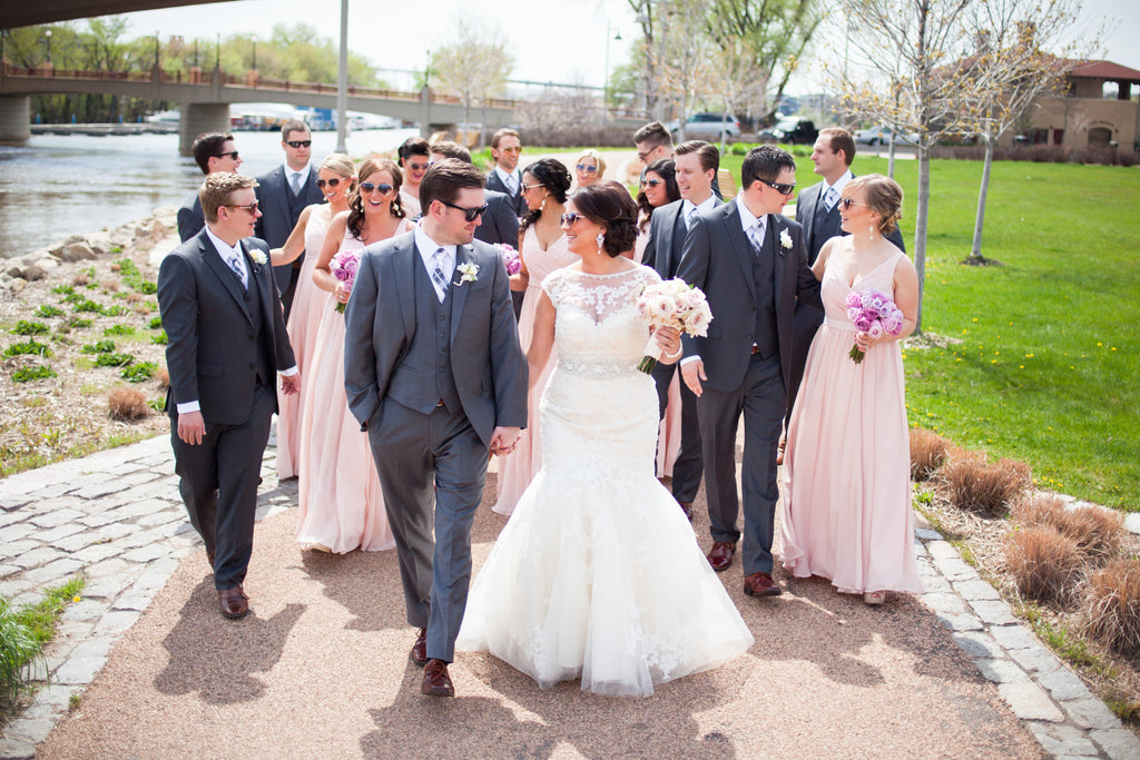 Gray suits with blush bridesmaid dresses are a breath-taking combo! | A Modern Wedding Filled with Romance & Glamour - See the full gallery here!