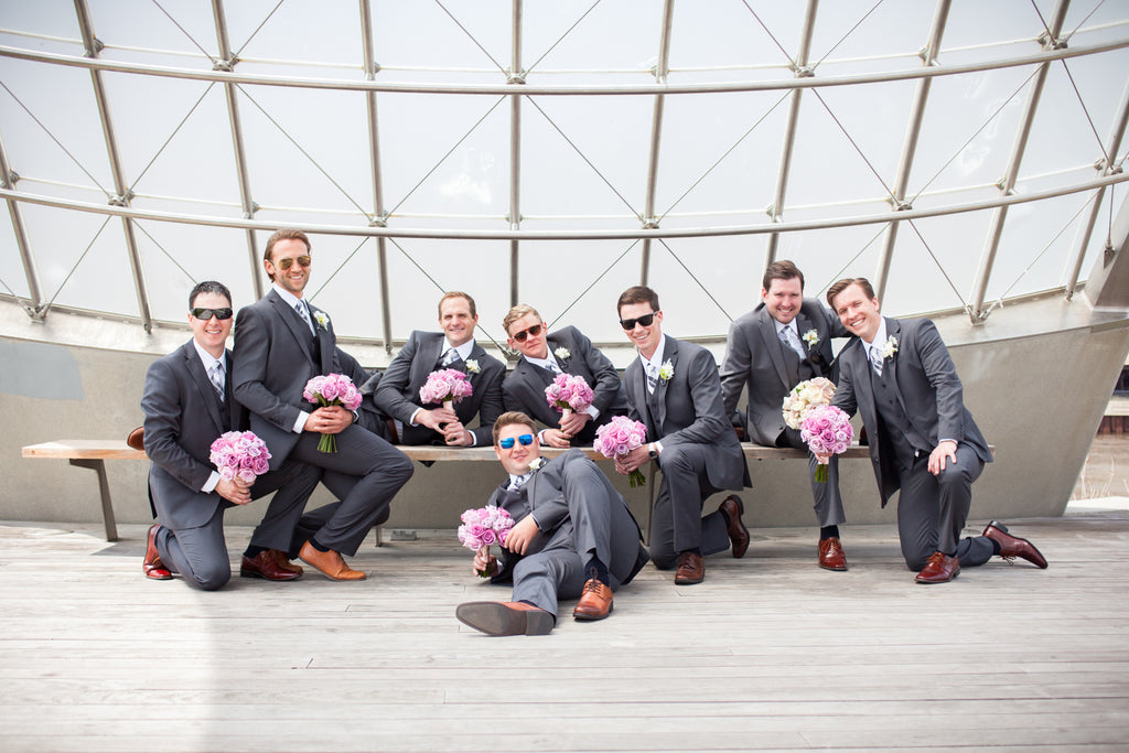 These men look so handsome in their gray suits! | A Modern Wedding Filled with Romance & Glamour - See the full gallery here!