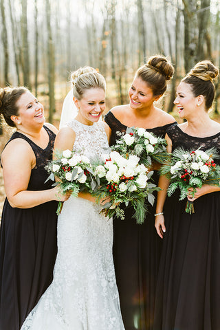 Winter Wedding with Kennedy Blue Bridesmaid Dresses