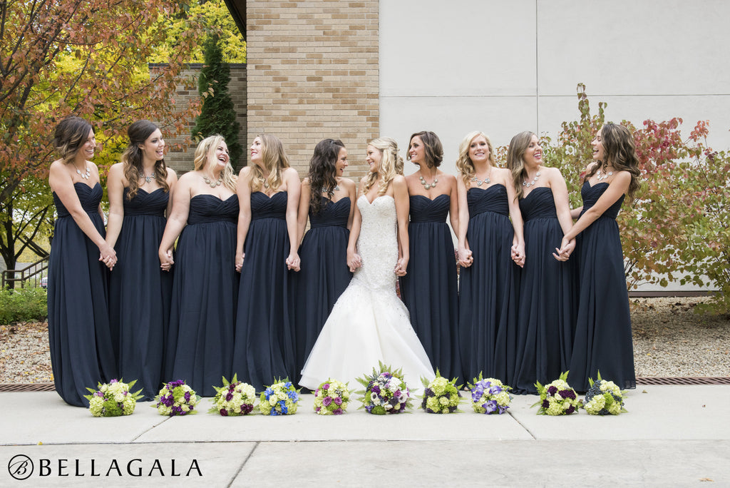 This navy bridal party is absolutely stunning! | Beautiful Navy Bridal Parties | Kennedy Blue | Bellagala