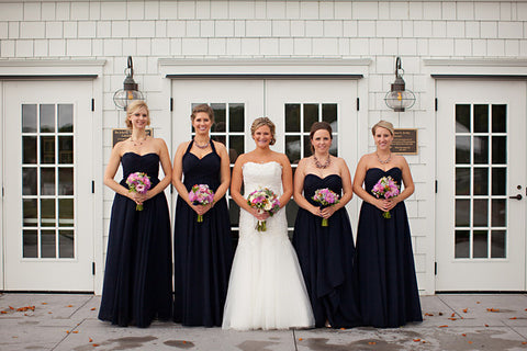 Kennedy Blue bridesmaid dresses Olivia and Violet for a nautical themed wedding.