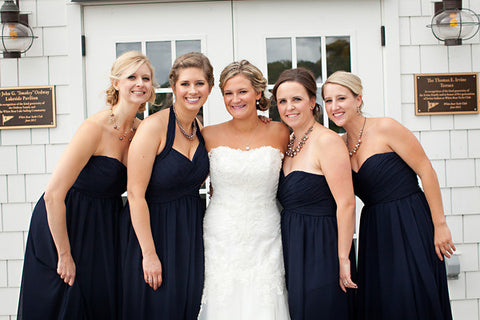 Kennedy Blue navy bridesmaid dresses for a nautical themed wedding.