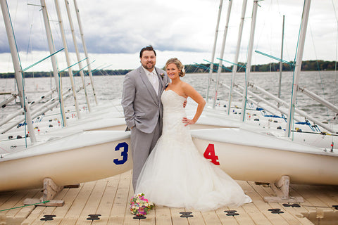 Love the sailboat background! | Nautical Themed Weddings: A Sea-Inspired Style Guide
