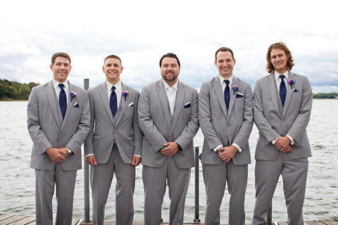 Gray men's suits are perfect for a nautical theme.