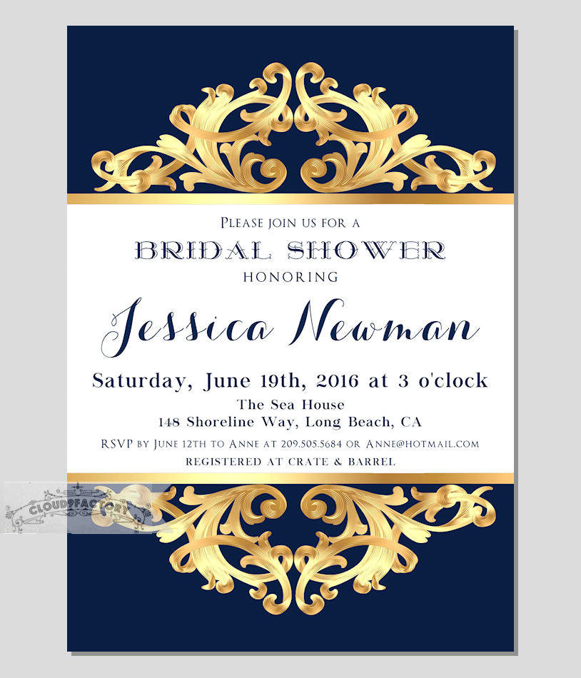 This navy and gold bridal shower invitation is stunning! | 52 Awesome Bridal Shower Ideas | Kennedy Blue | Cloud9Factory