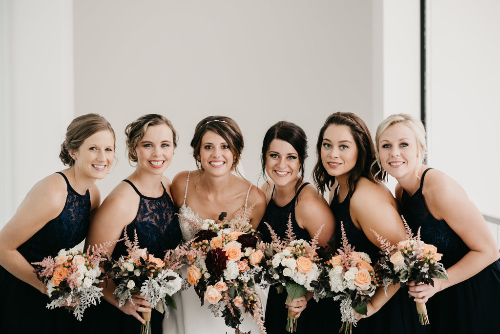 Bridesmaids in Kennedy Blue Madeline