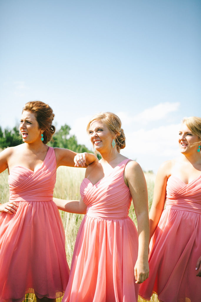 Kennedy Blue One-Shoulder Bridesmaid Dress Spencer in Coral | An Outdoor Wedding That's Simply Charming | Kennedy Blue