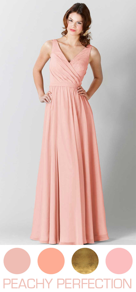 Peach bridesmaid dresses are gorgeous for 2016 spring or summer weddings.