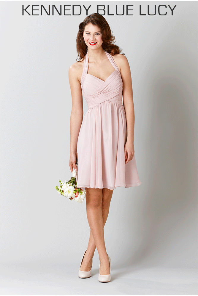 A short chiffon dress with a flattering halter neckline. | The Most Flattering Dresses for Plus Size Bridesmaids