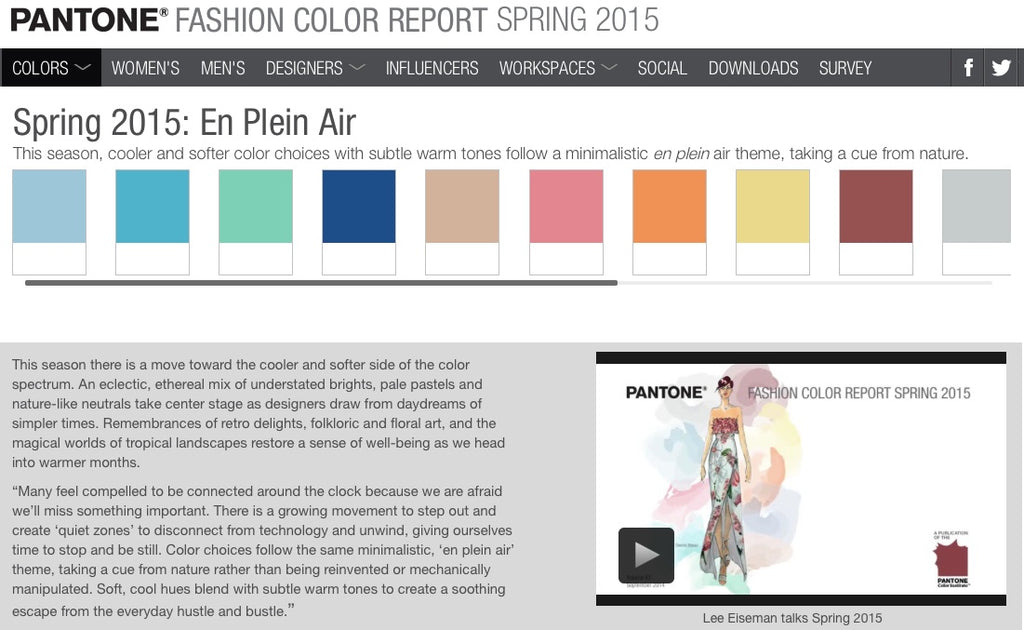The Pantone Fashion Color Report for Spring 2015
