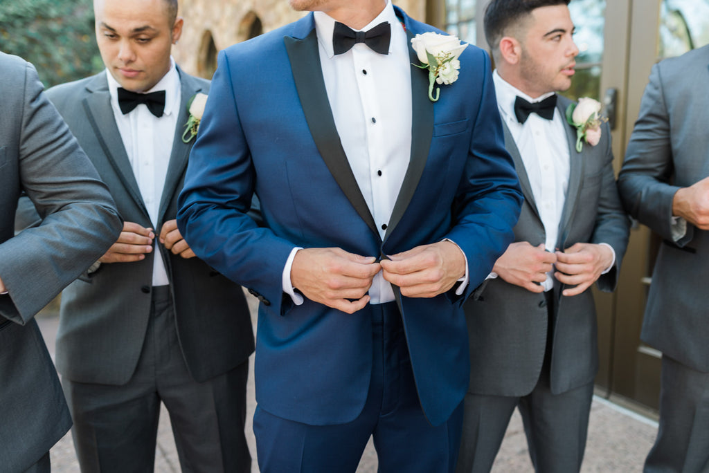 Navy Blue and Gray Groomsmen | Cassie And Roberts Romantic Rustic Wedding | Kennedy Blue