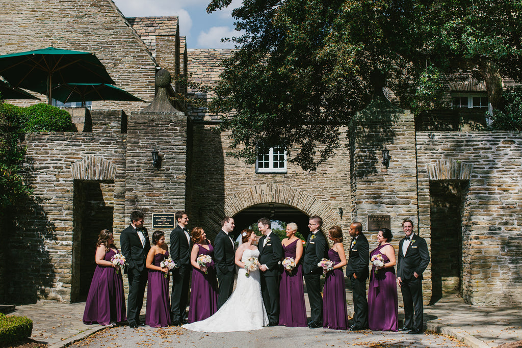 A black and purple bridal party | A Chic Purple and Gold Pittsburgh Wedding