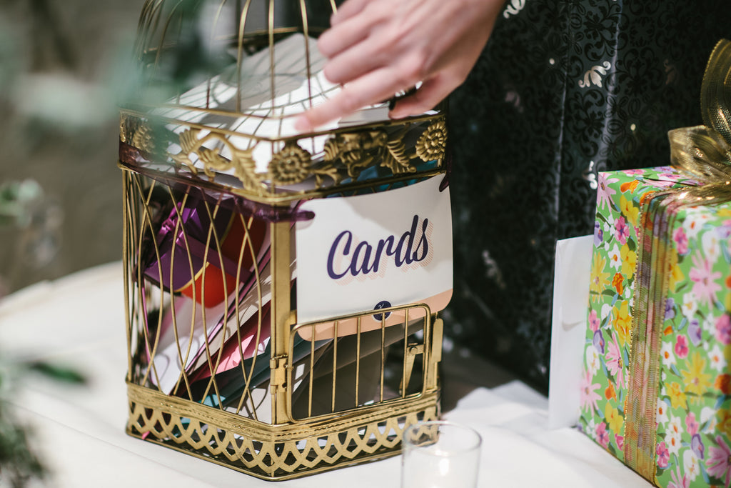 Birdcage card holder | A Chic Purple and Gold Pittsburgh Wedding