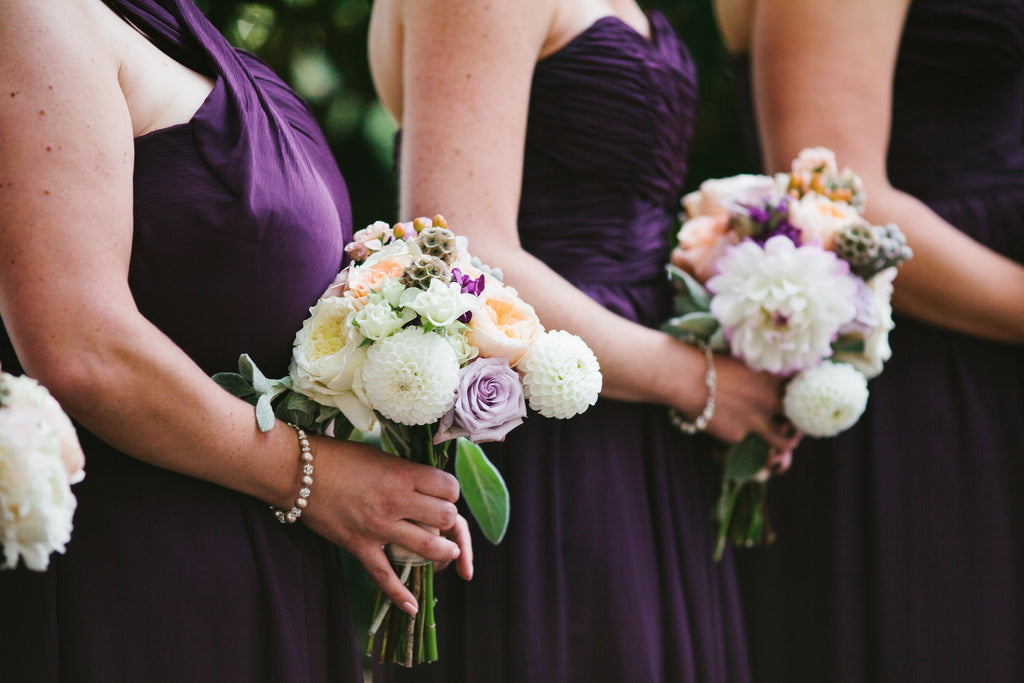 Purple bridesmaid dresses from Kennedy Blue | A Chic Purple and Gold Pittsburgh Wedding
