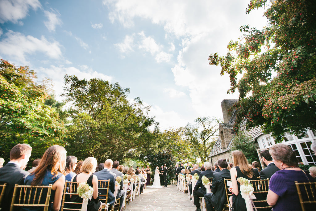 A gorgeous outdoor wedding ceremony | A Chic Purple and Gold Pittsburgh Wedding