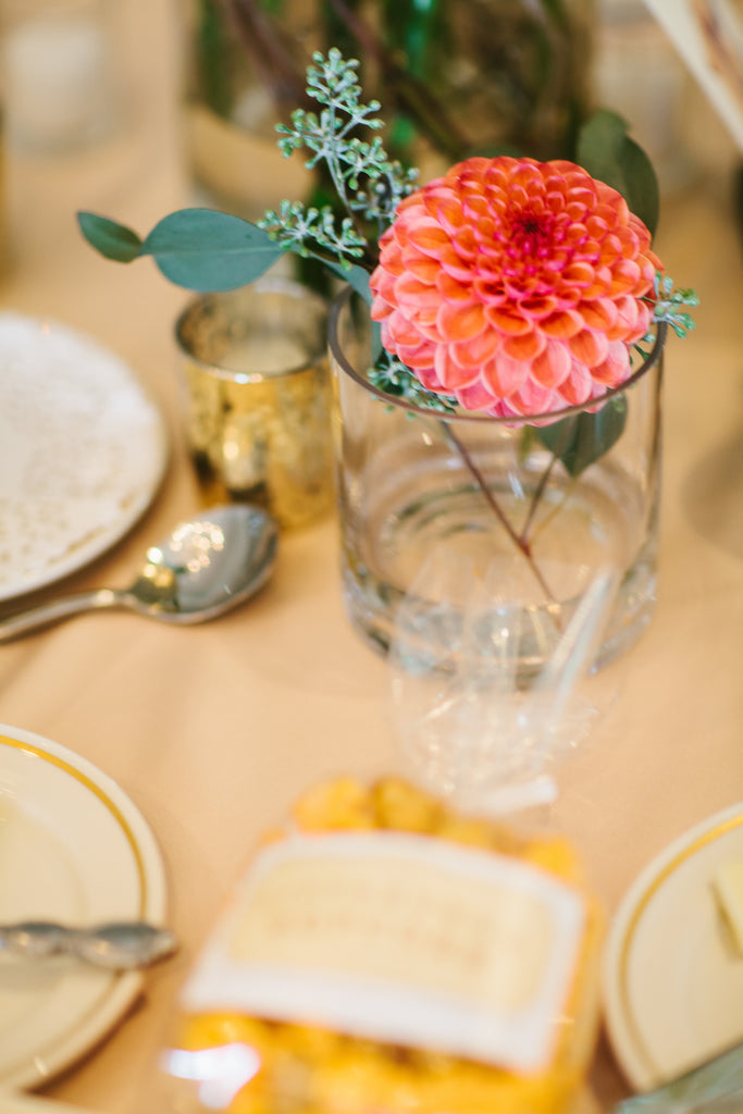 Wedding recteption table centerpeices | A Chic Purple and Gold Pittsburgh Wedding