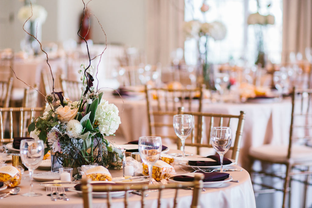 Wedding reception table decorations | A Chic Purple and Gold Pittsburgh Wedding