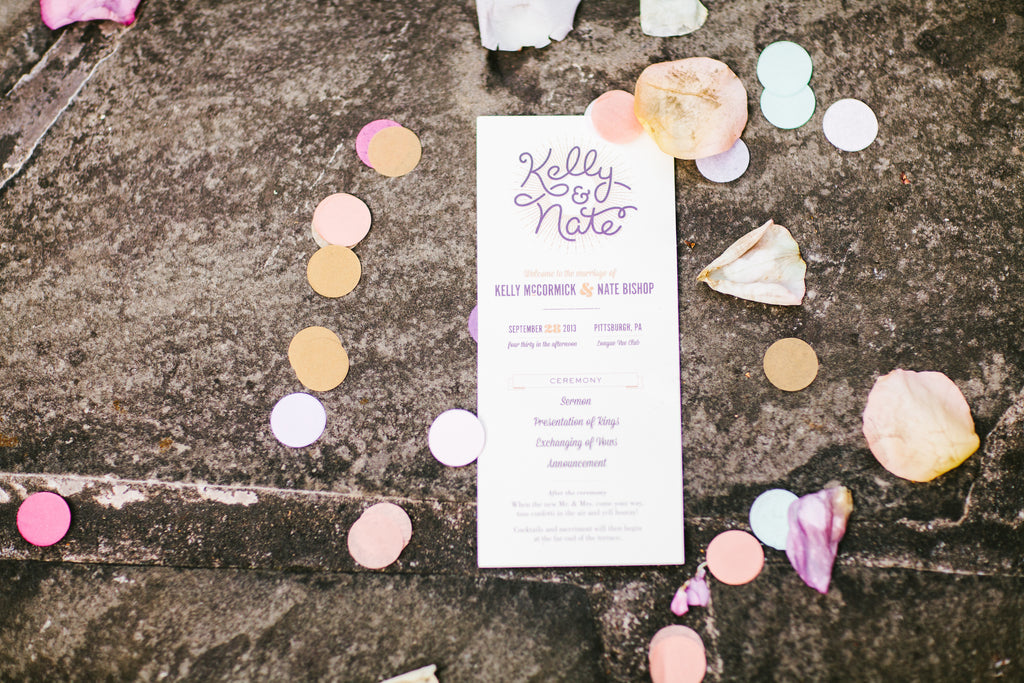 The wedding program | A Chic Purple and Gold Pittsburgh Wedding
