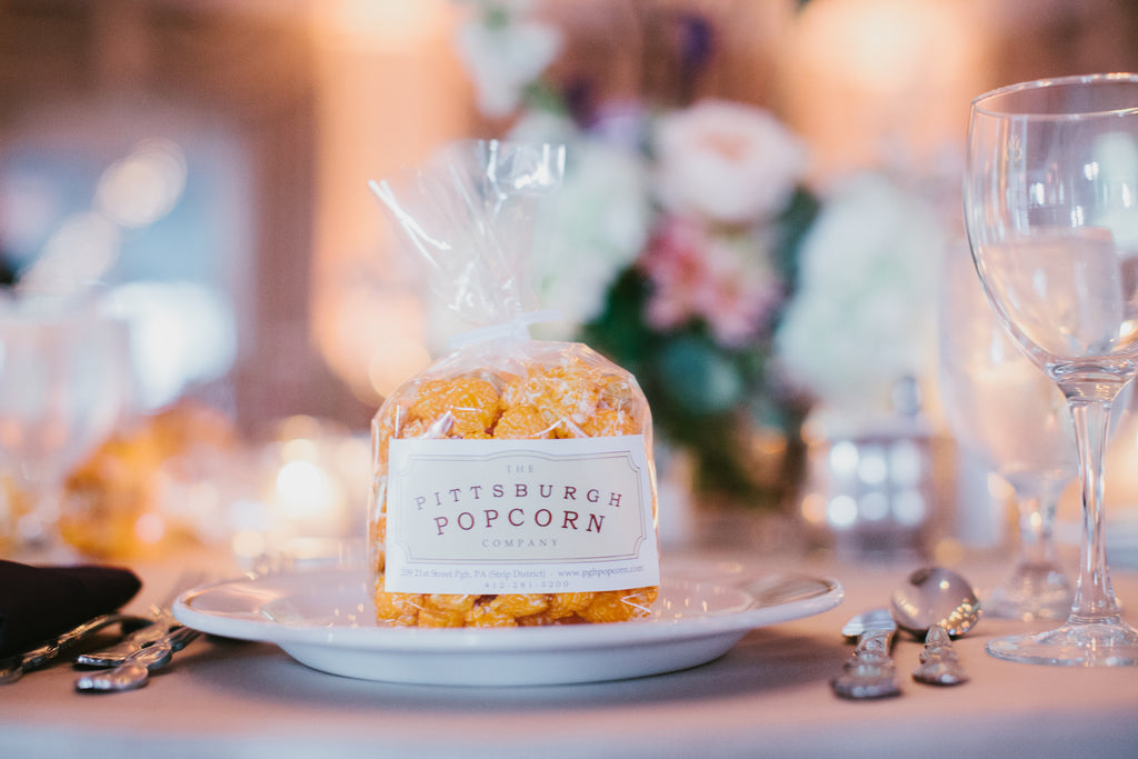 Pittsburgh popcorn wedding favors. | A Chic Purple and Gold Pittsburgh Wedding